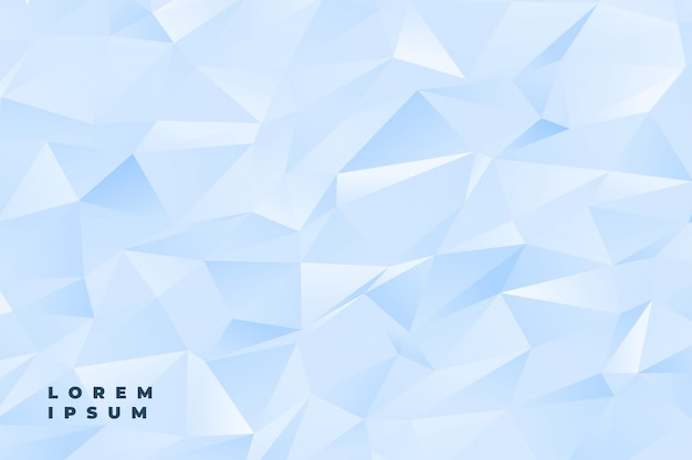Abstract subtle light blue or white low poly background Free Vector