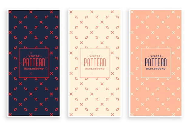 Abstract subtle pattern banners set Free Vector