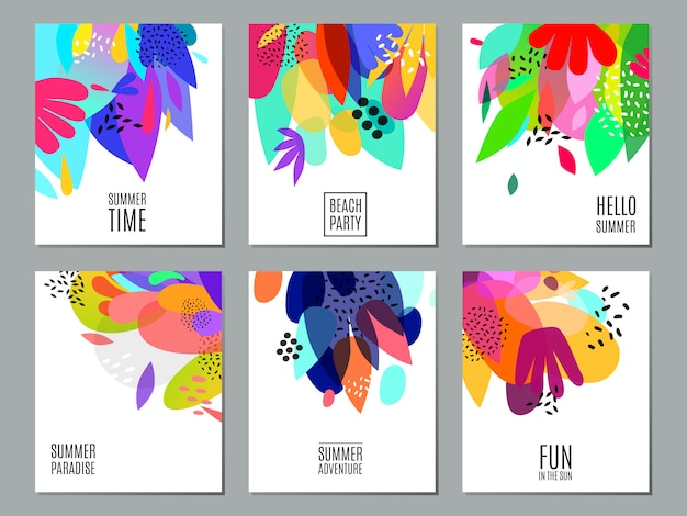 Abstract summer advertisement banners collection poster Free Vector