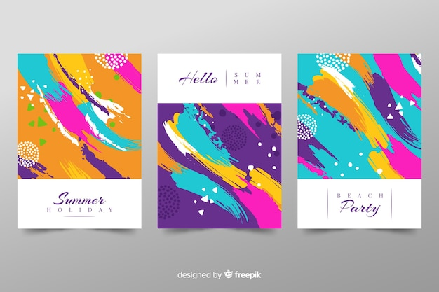 Abstract summer cover template collection Free Vector