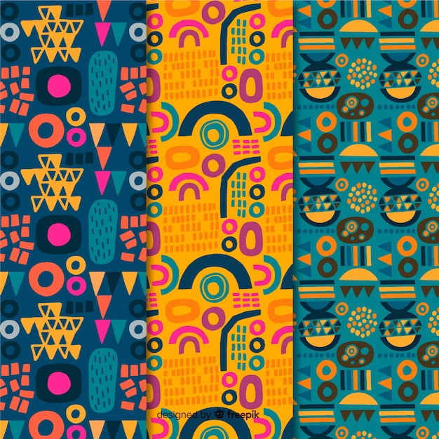 Abstract summer idea hand drawn pattern collection Free Vector