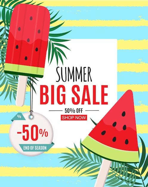 Аннотация летняя распродажа баннер с арбузом мороженого. конец сезона векторная иллюстрация Premium векторы