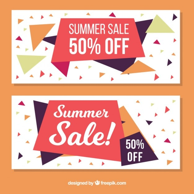 Abstract summer sale banners with polygons Vector | Free Download