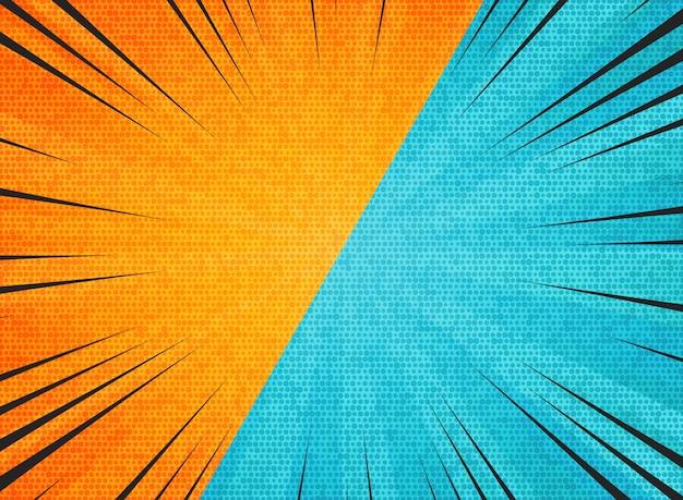 Abstract sun burst contrast orange blue colors background Premium Vector