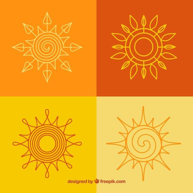 Abstract suns Free Vector