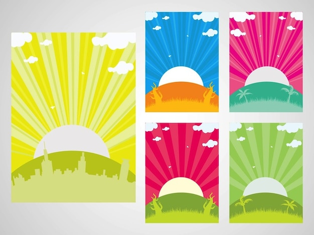 Abstract sunset cityscape silhouettes\ backgrounds