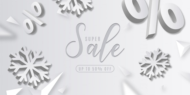 Abstract super christmas sale with 3d elements Free Vector