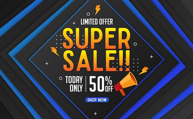 Abstract super sale banner template background Premium Vector