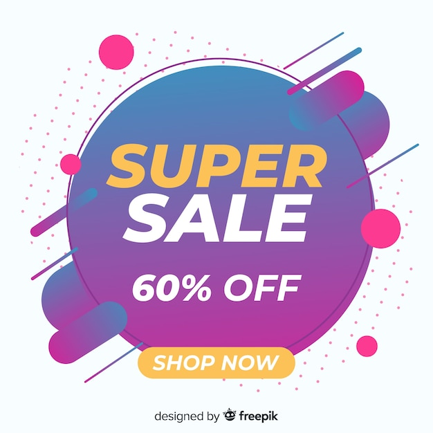 Abstract super sale promotion banner Free Vector