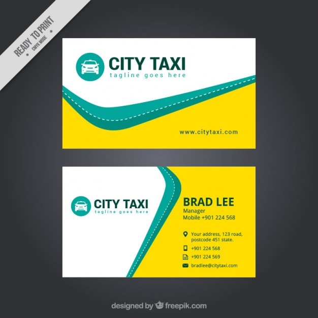 Abstract taxi card Free Vector