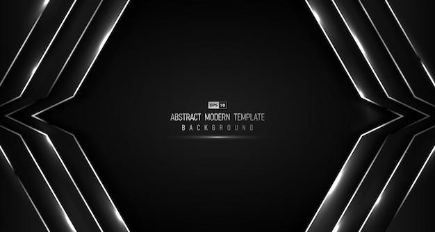 キラキラデザインの背景を持つグラデーションブラック高級の抽象的なハイテクデザイン。 Premiumベクター