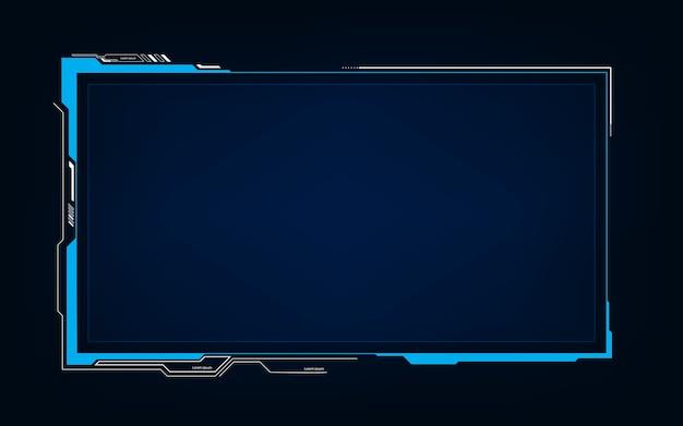 抽象技術sfホログラムフレームテンプレートデザインの背景 Premiumベクター