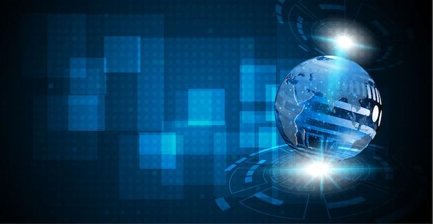 Abstract tech sphere digital circuit background Premium Vector