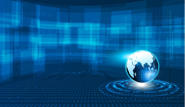 Abstract tech sphere digital circuit pattern innovate concept background. Premium Vector