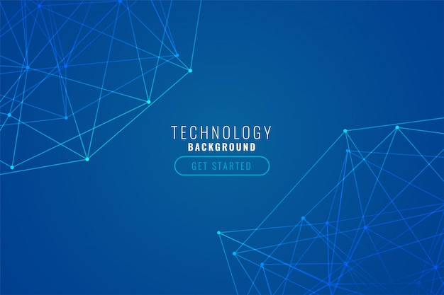 Abstract tech wire mesh blue background Free Vector