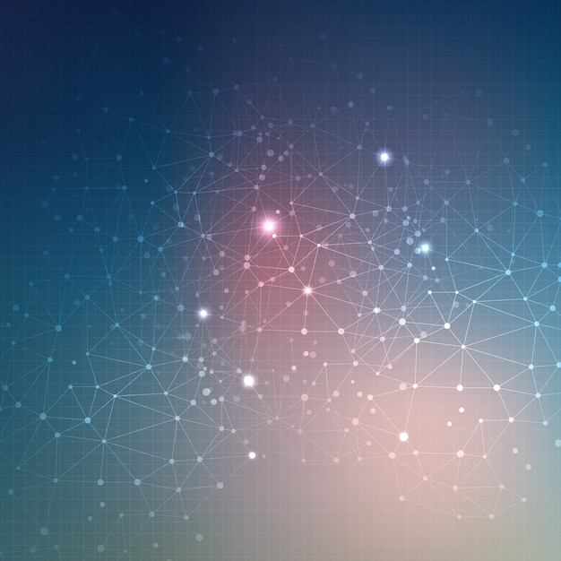 Abstract techno background with connecting dots Free Vector
