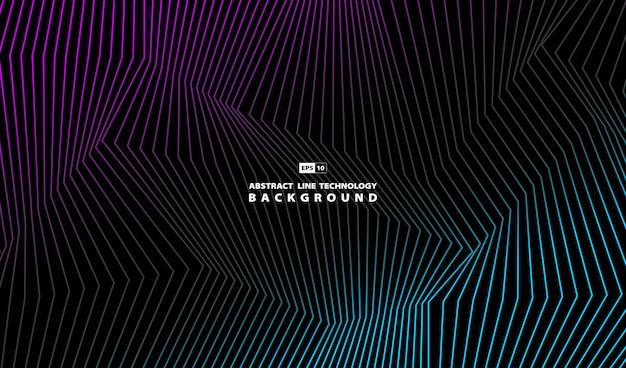Абстрактная линия техно фиолетовый и синий шаблон искусства. Premium векторы
