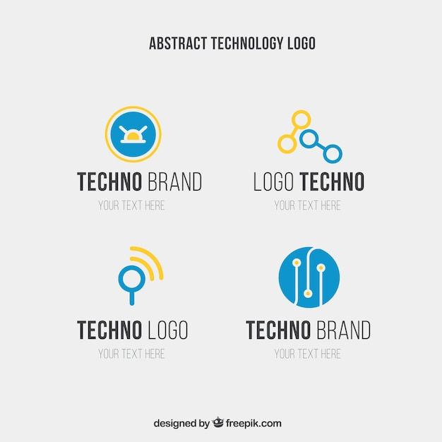 Abstract techno logo templates in blue and yellow colors Free Vector