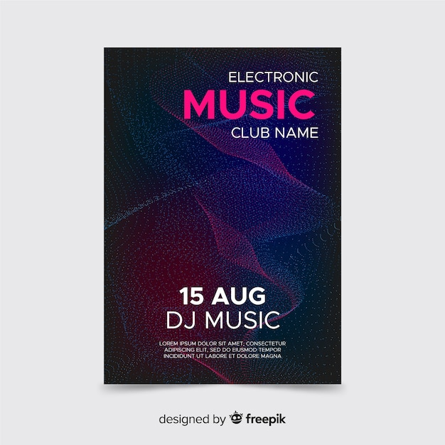 Abstract techno sound wave poster template Free Vector