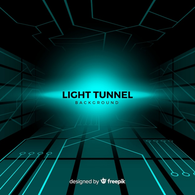 Abstract technological light tunnel background Free Vector