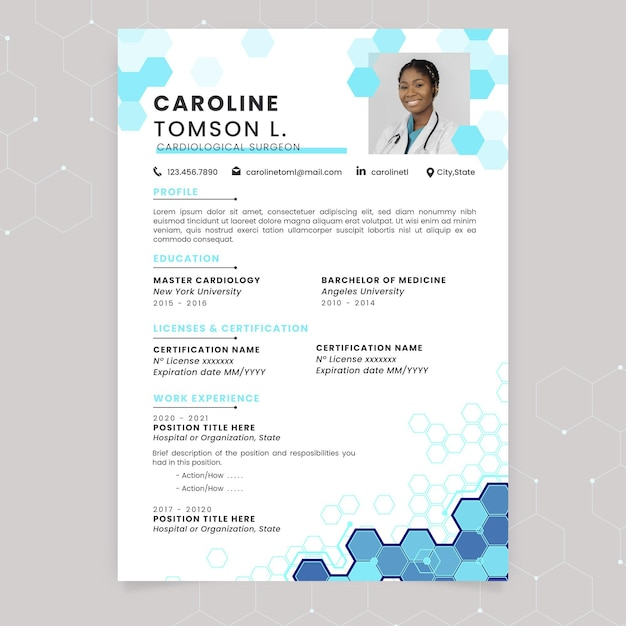 Abstract technological medical resume Free Vector
