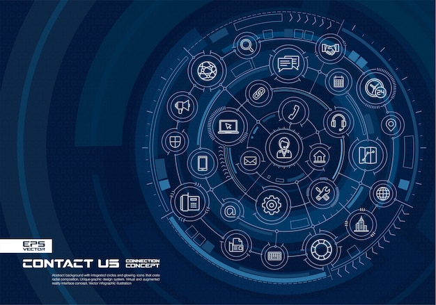 Abstract technology background. digital connect system with integrated circles, glowing thin line icons. virtual, augmented reality interface concept.  future infographic illustration Premium Vector
