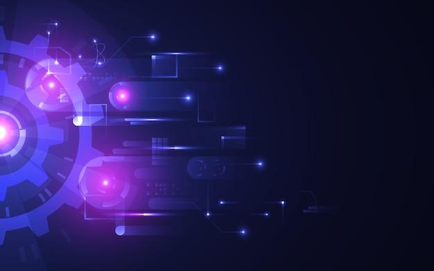 抽象的な技術の背景。暗い背景に未来的な光る歯車。明るいつながりを持つハイテクコンセプト。回転要素を備えたモダンな回路。デジタルイノベーション。図。 Premiumベクター