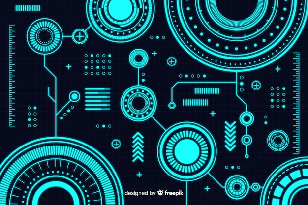Abstract technology background in hud style Free Vector