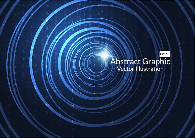 Abstract technology background with glowing neon circles Premium Vector
