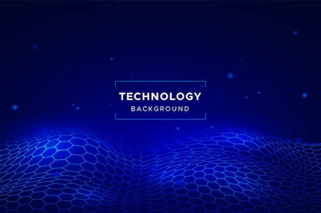 Abstract technology background with hexagonal grid Free Vector