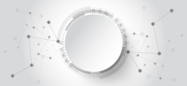 Abstract technology background with various technology elements. Premium Vector