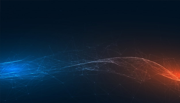 Abstract technology banner with blue and orange lights Free Vector