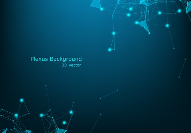Abstract technology blue wire network futuristic wireframe data with lighting effect. big data connection background Premium Vector