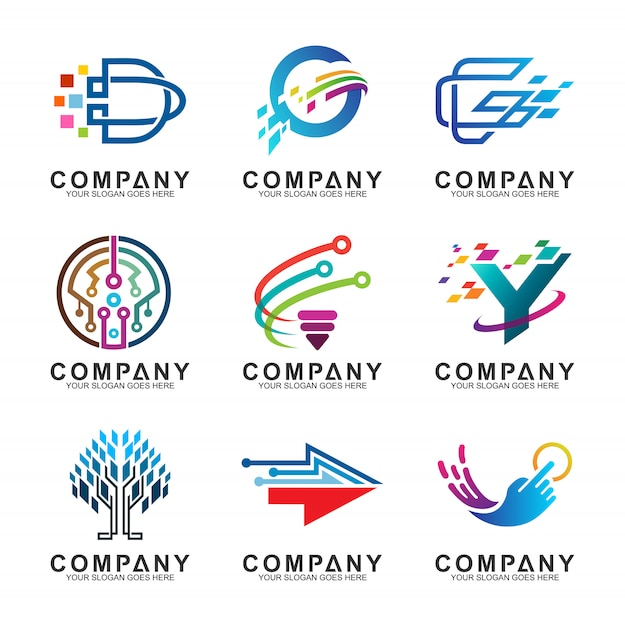 Abstract technology business logo design collection Premium Vector