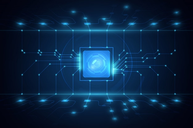 Abstract technology chip processor background circuit board  illustration blue technology background vector. Premium Vector