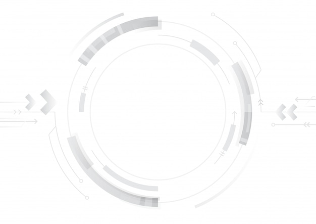 Abstract technology circle design on white background Premium Vector