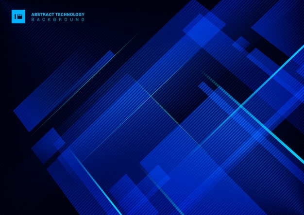 Abstract technology concept blue geometric overlapping with light laser line on dark background. Premium Vector
