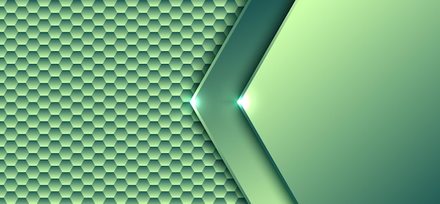 Abstract technology digital concept green gradient hexagonal element pattern with light artwork  background and texture. Premium Vector