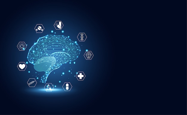 Abstract technology digital health medical brain medical Premium Vector