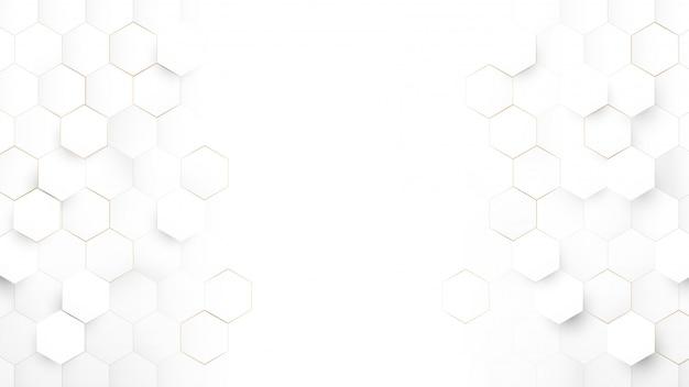Абстрактные технологии, футуристическая цифровая концепция высоких технологий. абстрактный белый и золотой шестиугольный фон. Premium векторы