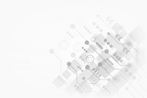 Abstract technology on gray background for your business with futuristic circuit board and geometric polygonal Premium Vector