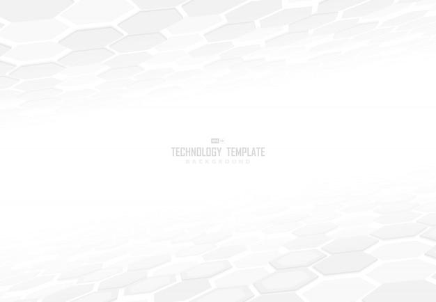 影の背景を持つ要素の視点の抽象的なテクノロジー六角形パターンデザイン。 Premiumベクター