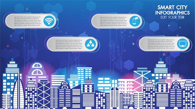 Abstract technology innovation smart city and wireless communication network night city Premium Vector