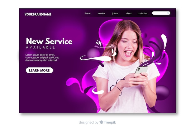 Abstract technology landing page with photo and liquid shapes Free Vector