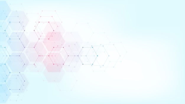 Abstract technology or medical background with hexagons shape pattern. concepts and ideas for healthcare technology, innovation medicine, health, science and research. Premium Vector