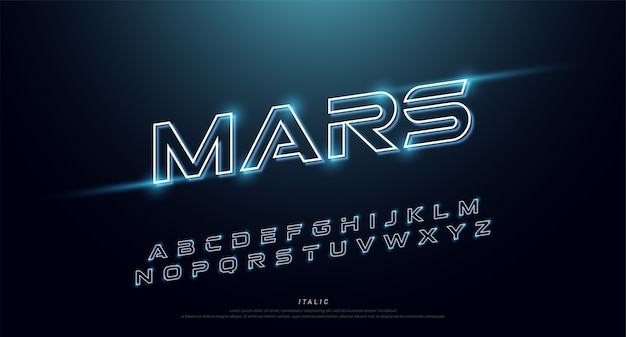 Abstract technology neon font and alphabet. techno effect Premium Vector