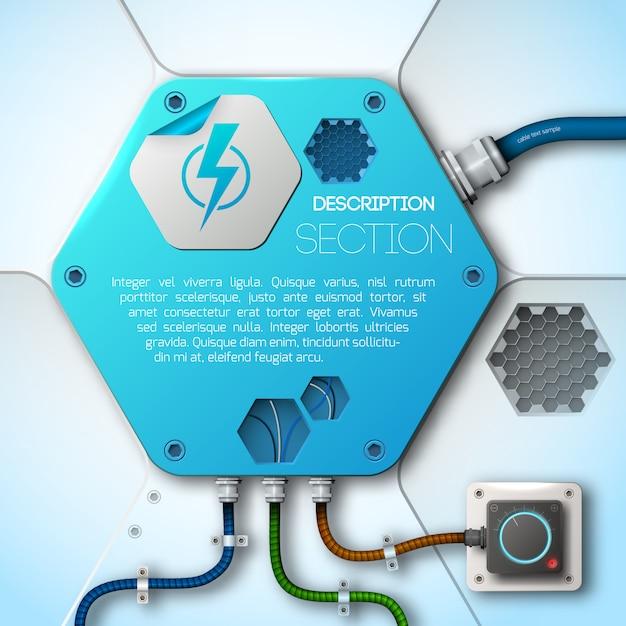 抽象的な技術力とエネルギーフラットイラスト Premiumベクター