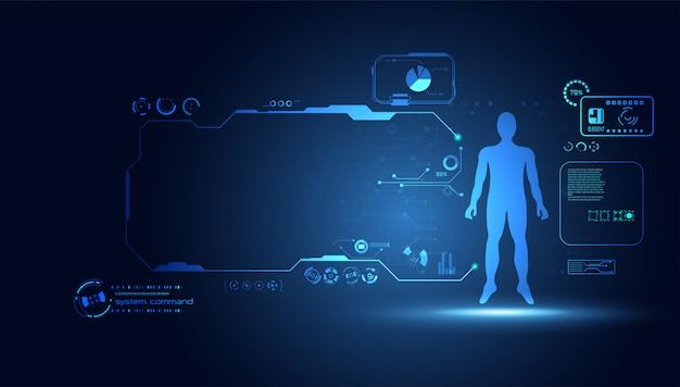 Аннотация технология наука человеческие данные здоровье цифровой Premium векторы