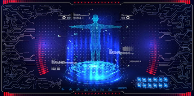 Abstract technology ui futuristic concept hud interface hologram elements Premium Vector