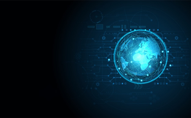 Abstract technology ui futuristic concept world digital background Premium Vector